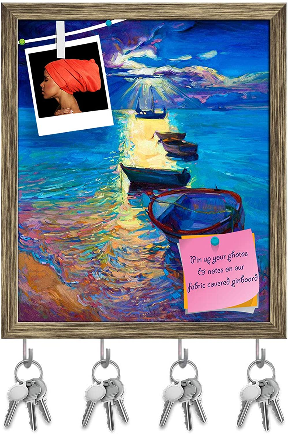 Artzfolio Abstract Artwork of Fishing Boats & Sea D2 Key Holder Hooks   Notice Pin Board   Antique golden Frame 16 X 19Inch