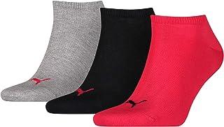 Puma Men PUMA UNISEX SNEAKER PLAIN 3P Sneaker Plain Sock - Black/ Red, 6-8
