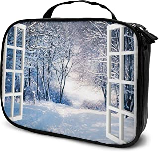 Cosmetic Bag Window Winter Snow Forest Tree Makeup Bag Lightweight Portable Cosmetic Case Water Resisted Cosmetic Makeup Bag Durable Organizer Makeup Boxes With Insulated Pockets For Travel