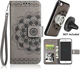CASEOWL iPhone 8 Case,iPhone 7 Wallet Cases with Detachable Slim Case Fit Magnetic Car Mount, Card Solts Holder, Embossed Mandala Pattern Flower Floral Vegan Leather Flip Wallet Case [Gray]