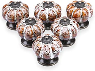 YDO Ceramic Glazed Cabinet Knobs Pumpkin Shape Classy Vintage Decorative Knobs Cabinet Closet Drawers Dresser Pull Handle 6pcs (White)