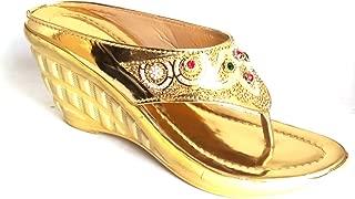 M/S SHOES BAZAAR Women/Girls Bridal Wedges/Upper and Heel Designed with ZARI Work and Diamond Work