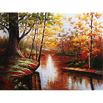 Without Frame DIY Oil Paint by Number Kit for Adults Beginner 16x20 inch-Creek in The Woods Drawing with Brushes Christmas Decor Decorations Gifts