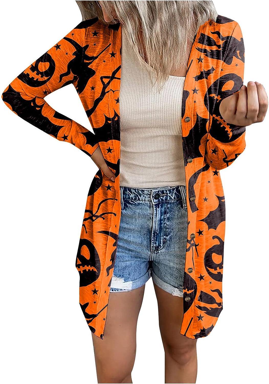 Womens Halloween Funny Cute Pumpkin Bat Print Sweaters Long Sleeve Open Front Cardigan Blouse Lightweight Coat