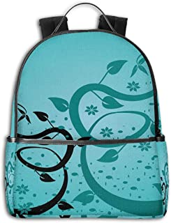 College Backpacks for Women Girls,Abstract Floral Arrangement Nature Winding Tendrils Design Flora Drawing Style,Casual Hiking Travel Daypack