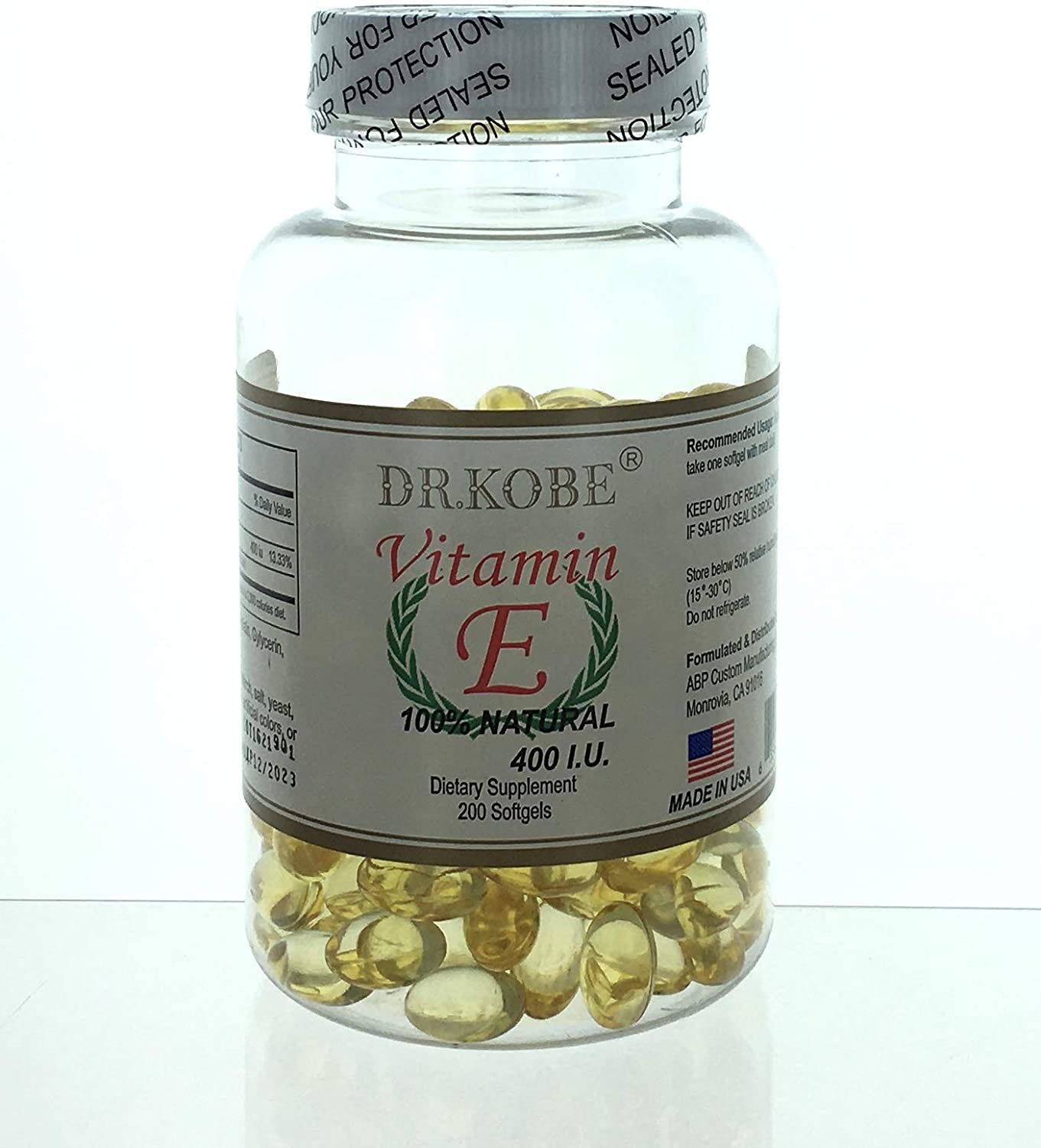 Vitamin E 400 IU - latest Natural Anti-Oxidation 200 Improve Softgels Today's only I