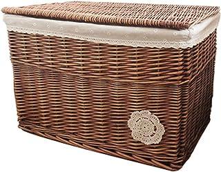 Boîte de Rangement de Panier de Rangement en Osier à la Maison, Grande boîte de Rangement en rotin avec Couvercle(Size:60...