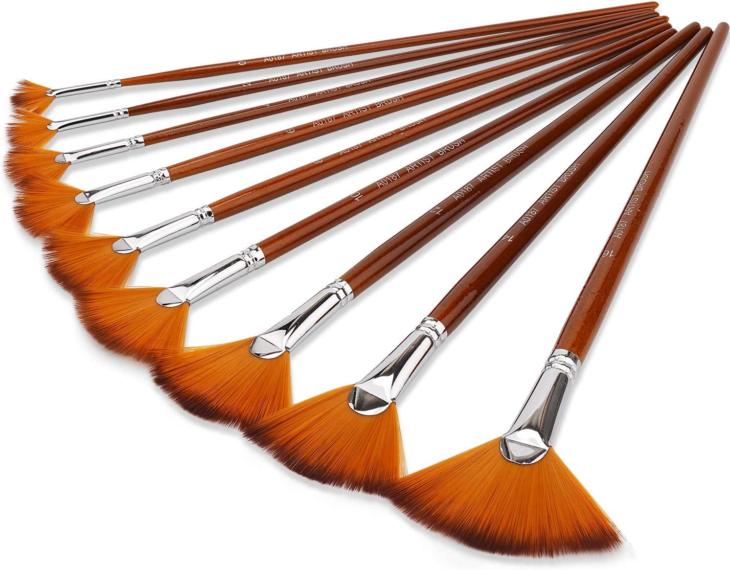 BOSOBO Paint Brushes Set Limited time trial price famous 9pcs Shaped Long Professional Fan Hand