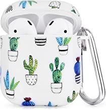 CAGOS Compatible with Airpods Case, 3 in 1 Cute Airpods Accessories Protective Hard Case Cover Portable & Shockproof Women Girls Men with Keychain/Strap/Earhooks for Airpods 2/1 Charging Case-Cactus