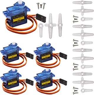 Miuzei SG90 Servo Motor Micro Servo 9G Servo Motor for RC Robot Arm Helicopter Airplane Remote Control (5 Pcs)
