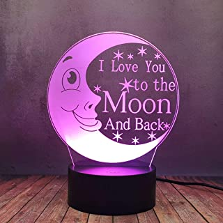 Romantic Kid Moon Lamp Illusion 3D Night Light, I Love You to The Moon and Back Sign LED Desk Lamp, 16 Color Change USB Pl...
