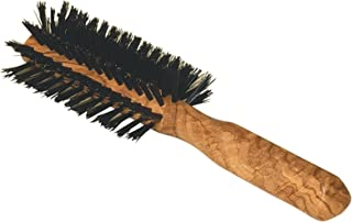 Redecker Wild Boar Bristle Half Round Hairbrush with Waxed Olive Wood Handle, 8-1/2-Inches