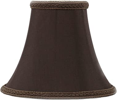Urbanest Chocolate with Braided Trim Silk Bell Chandelier Lamp Shade, 3-inch by 6-inch by 5-inch, Clip-on