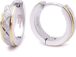 Stainless Steel Mens Hoop Earrings Cross Stripe Gold Black Silver Bevel Edge 16mm