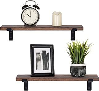 Mkono Wood Floating Shelves Rustic Modern Wall Mounted Storage Shelving with Lip Brackets for Bedroom Living Room Bathroom Kitchen Office Set of 2, Brown