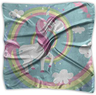Square Scarf Colored Unicorn Rainbow Cloud Handkerchief Unisex Muffler Tie For Woman