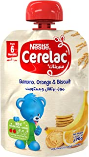 Nestlé CERELAC Fruits Puree Pouch Banana Orange Biscuit, 90g