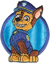 Iron on patches - PAW PATROL 'CHASE 1' - blue - 7x6cm - by catch-the-patch Application Embroided patch badges