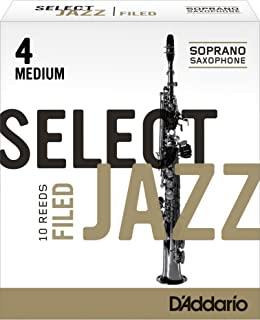 Cañas para saxo soprano Rico Select Jazz, corte francés, resistencia 4/media, paquete de 10