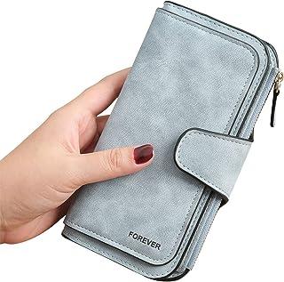 3 PCS Gran Capacidad Cartera de Cuero de Mujer, Bloqueo RFID Monedero de Piel para Señora, Larga Billetera de Mujer con Bo...