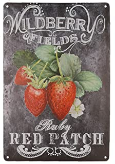 TISOSO Tin Signs Designs Strawberries Pick Your Own Retro Vintage Tin Bar Sign Country Home Decor Outdoor Yard Field Pub Cafe Wall Art Poster 8X12Inch