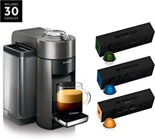 Nespresso ENV135GY Coffee and Espresso Machine by De'Longhi, Graphite Metal with Nespresso Vertuoline Coffee, Best Seller Assortment, 30 Capsules