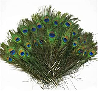 Herebuy8 50pcs Real Natural Peacock Tail Eyes Feathers Perfect for Wedding Party Arts And Crafts Home Decorations DIY (50pcs)