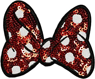 Disney Minnie Mouse Sequin Bow Patch Mickey Cartoon Embroidered Iron On Applique