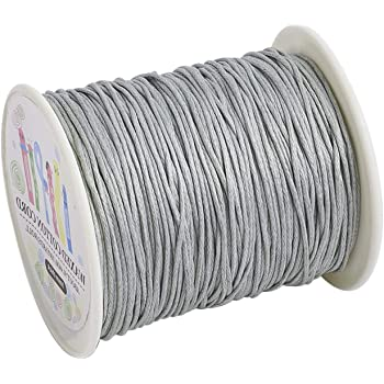 Waxed Cotton Cord Cord White 1mm Spool of 25 meters 27.3 Yards.