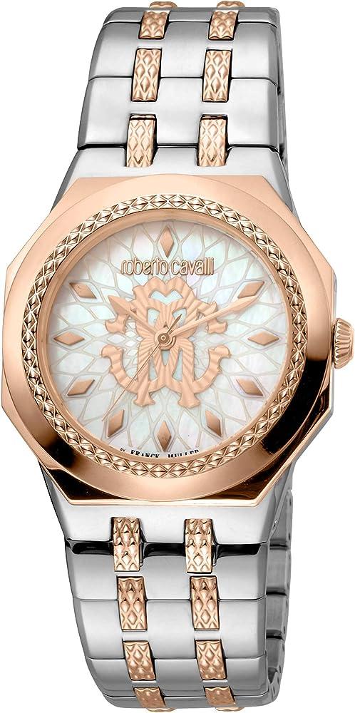 Roberto cavalli by franck muller orologio elegante da donna analogico in acciaio inossidabile RV1L114M0121