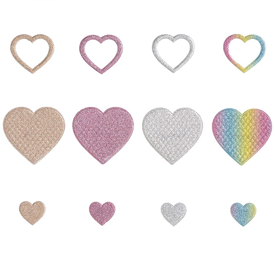 Calculs 12 Pcs Decorative Pins Love Heart Motif Iron On Patches Glitter Applique for Heat Transfer Clothing Shoe Bag Bling-Bling DIY
