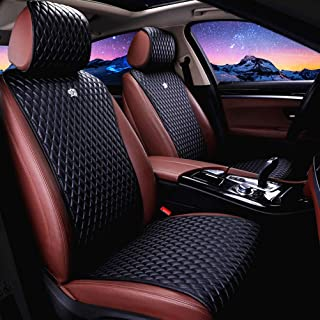 Universal Seat Covers for Cars 2/3 Covered Leather Auto Seat Covers 11PCS Black Car Seat Cover Fit Car/Auto/Truck/Suv (A-Black)