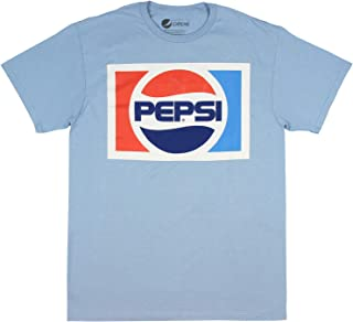 Pepsi Shirt - Licensed Classic Vintage 80's Logo Light Blue Short Sleeve Men's T-shirt