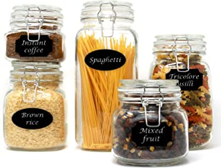 Set of 5 Clip Top Glass Storage Preserving Jars   10 Reusable Stickers & Chalk Pen   Assorted Collection of Airtight Vinta...