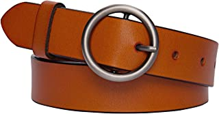 Genuine Leather Circle Belt for Women with Fashion Round Buckle Casual O-Ring-Belt for Jeans Pants by Maylisacc