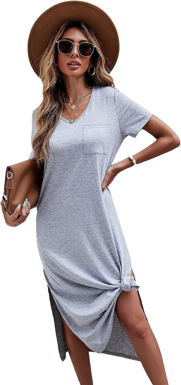 Milumia Women Casual V Neck Short Sleeve Midi Dress Slit Hem Solid Tee Dress