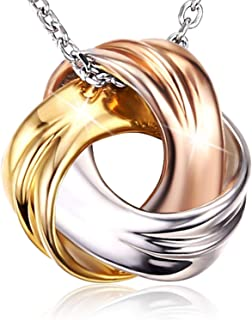 18K White Gold and Rose Gold Plated 925 Sterling Silver Necklace SPIRAL GALAXY Pendant for Women Ladies Girls Females Exqu...