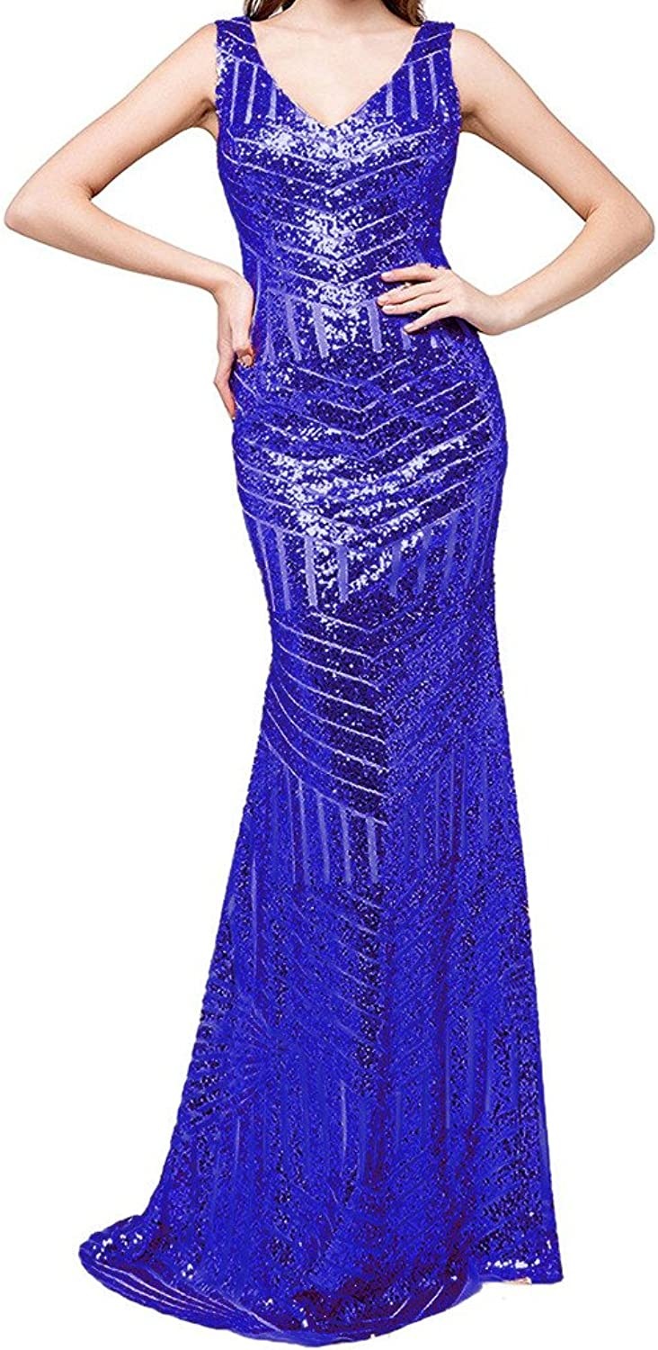 JYDRESS Women's Sequin Prom Dresses VNeck Formal Gown Ball Party Dresses