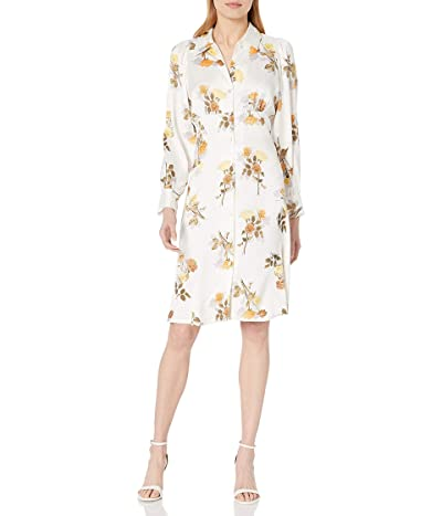 Calvin Klein Long Sleeve Collared Dress With Button Detail