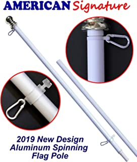 American Signature 5 ft Aluminum Tangle Free Spinning Flag Pole with Carabiners - 2019 New Enhanced Design - Outdoor Wall Mount Flagpole for Residential or Commercial (White, 5')