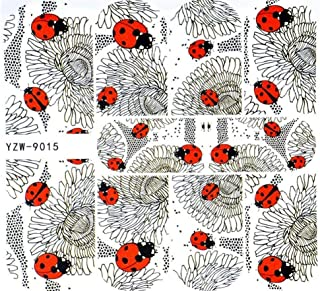 Black Red Ladybug Nail Decals Sticker Salon Quality Nail Art - 1 Sheet