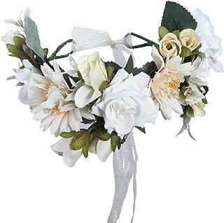 Flower Halo Crown Floral Headpiece - AWAYTR Bohemia Flower Headband Hair Wreath Garland for Women