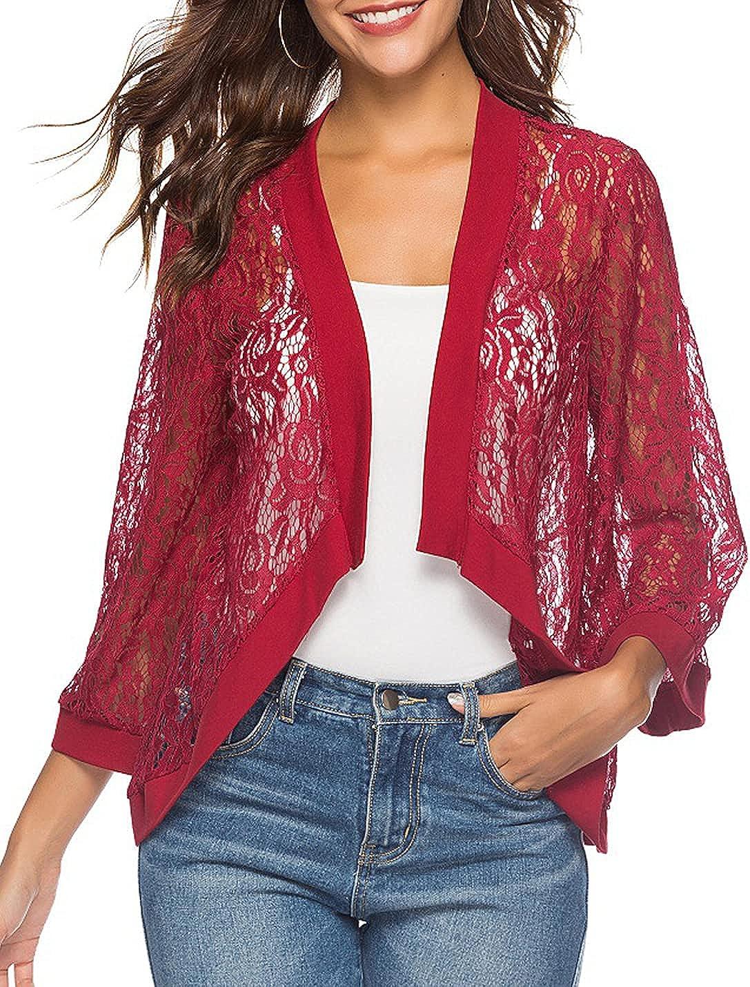 PEHMEA Women's 3/4 Sleeve Floral Lace Shrug Open Front Bolero Cardigan Crop Jacket (Red, X-Large)
