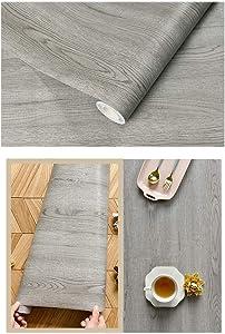 Self Adhesive Grey Wood Grain Contact Paper Floor Vinyl for Kitchen Cabinets Door Table Counter Top Desk Furniture Walls 15.7x117 Inches
