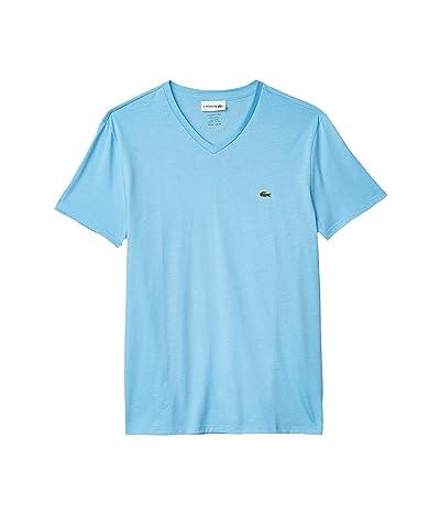 Lacoste Short Sleeve V-Neck Pima Jersey Tee (Barbeau Blue) Men