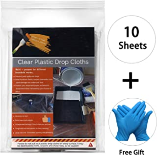 10 Sheets Painter Plastic Drop Cloths Anti-dust Furniture Cover for Painting, 9x12 Feet