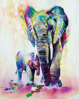 SHUAXIN Paint by Numbers for Adults - DIY Full Set of Assorted Color Oil Painting Kit and Brush Accessories - Colorful Elephants Father-Son 16