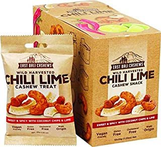 East Bali Cashews Wild Harvested Chili Lime Cashew Treat, 1 Box of 10 Packets