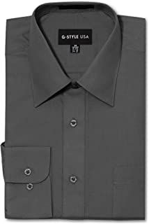G-Style USA Men's Regular Fit Long Sleeve Solid Color Dress Shirts - Charcoal - X-Large - 32-33
