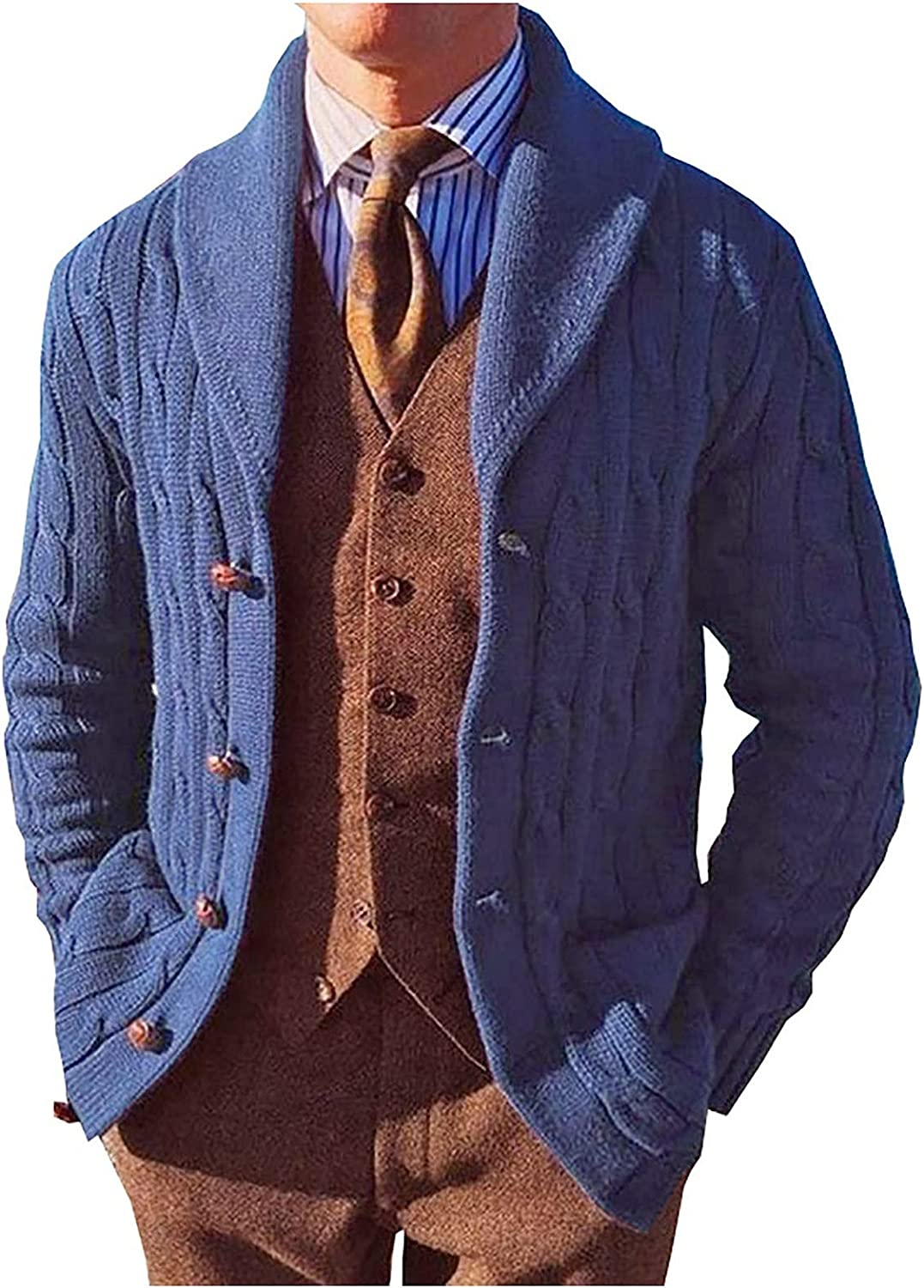 Huangse Mens Stylish Cardigan Sweater Knitted Solid Color Button Casual Shawl Collar Chunky Wool Sweaters